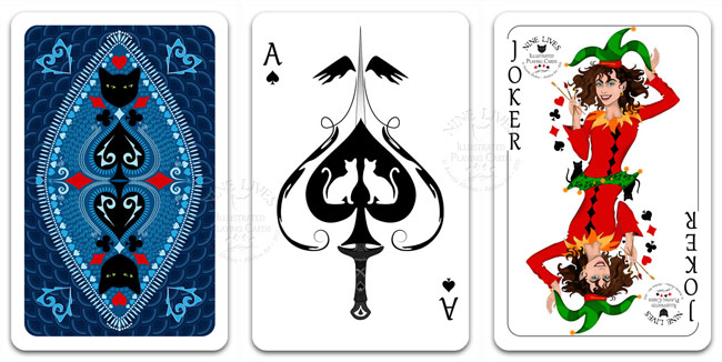 Back design Ace of Spades and Joker from Nine Lives playing cards