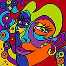 Face in Swirls of Colour by Annette Abolins