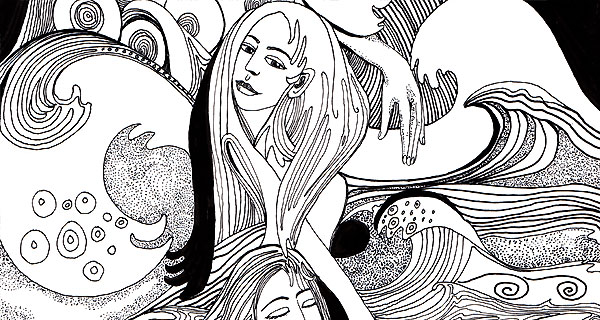 Sea Sisters - detail pen and ink