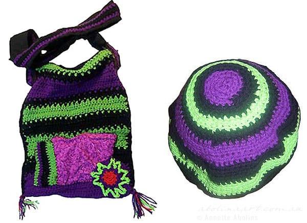crocheted bag and beanie