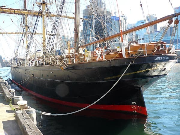 Tall ship moored in Sydney