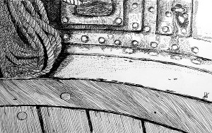 Pen & Ink Drawing – Ropes, Portraits & Architecture