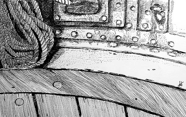 pen & ink drawing ship detail