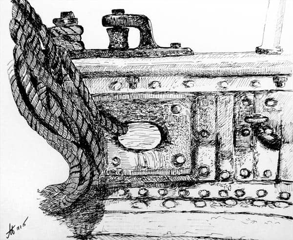 Pen and ink drawing of James Craig railing, rivets and ropes