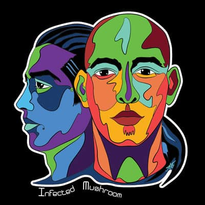 colourful portrait of psytrance duo