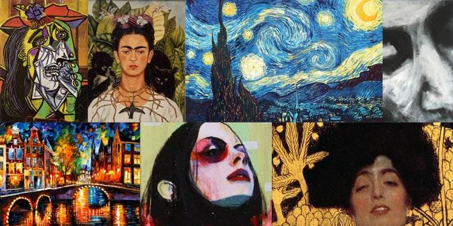 picasso, kahlo, van gogh, klimt artworks