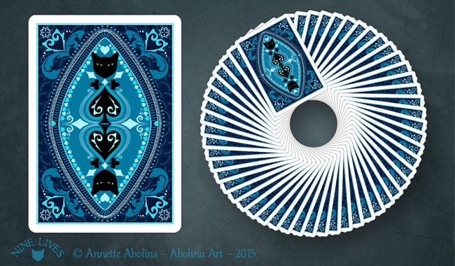 Back design for Nine Lives Playing Cards by Annette Abolins