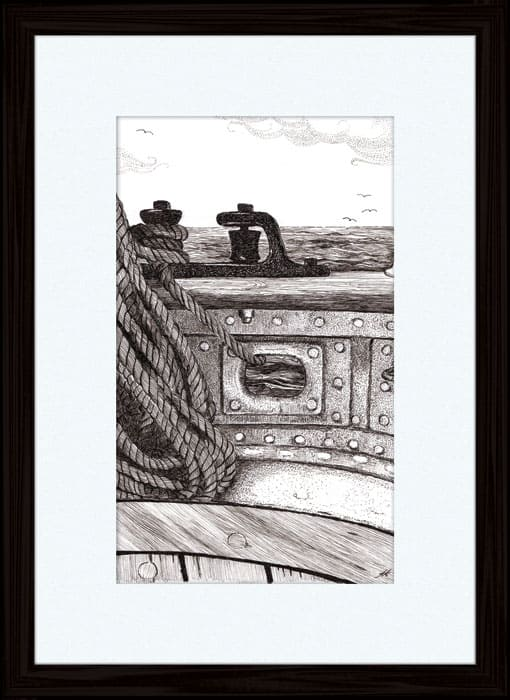 Onboard James Craig - pen and ink Annette Abolins