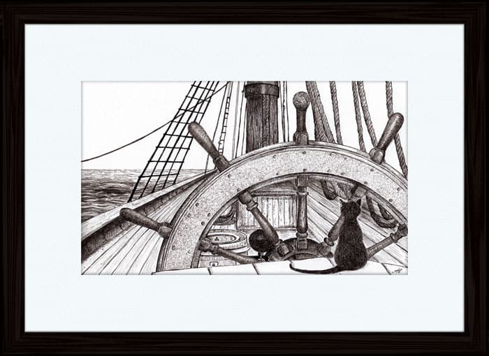 At the Helm - pen and ink - Annette Abolins 2015