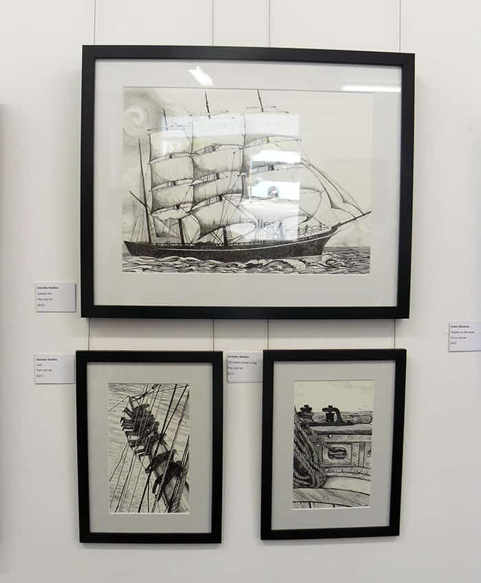 Garnet Hill, Aloft and On board James Craig - Pen and Ink drawings by Annette Abolins