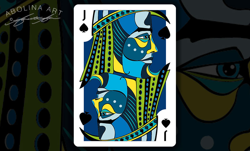 Jack of Spades in colour - with black spades in the artwork