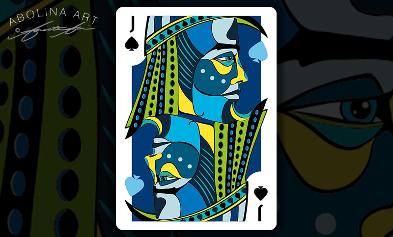 Jack of Spades in colour - with light blue spades in the artwork