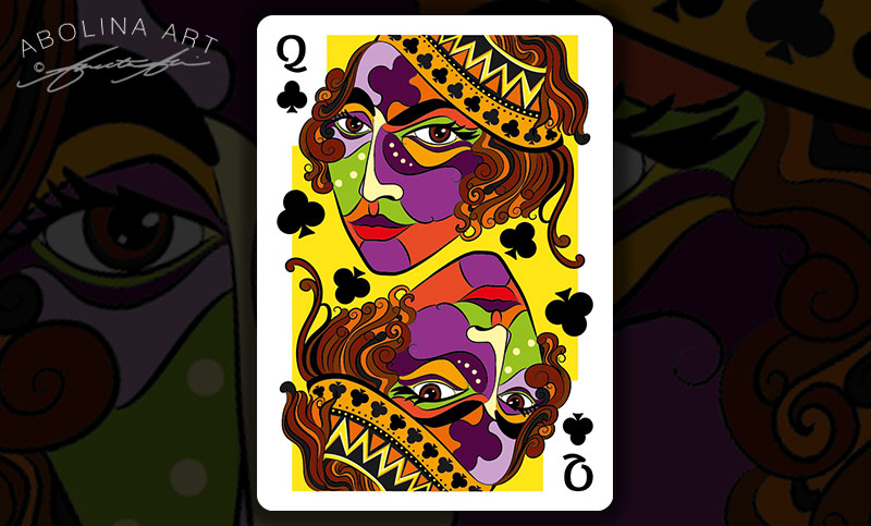 Queen of Clubs - colour version 2