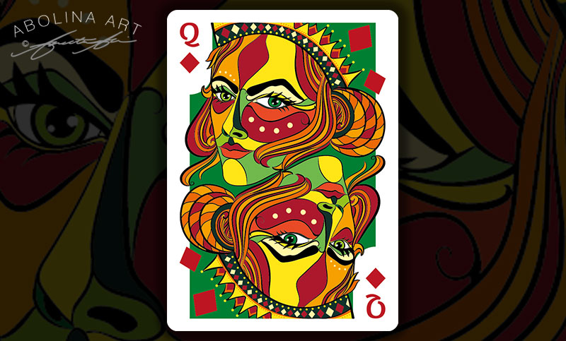Queen of Diamonds in colour