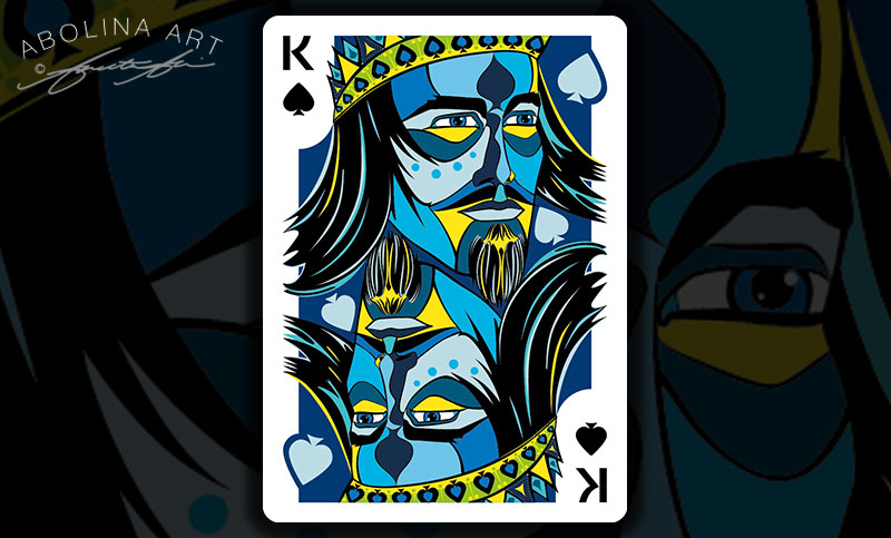 King of Spades - colour version with extended background around pips