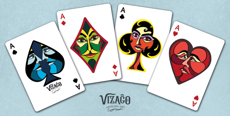 The four Aces in Vizaĝo playing cards