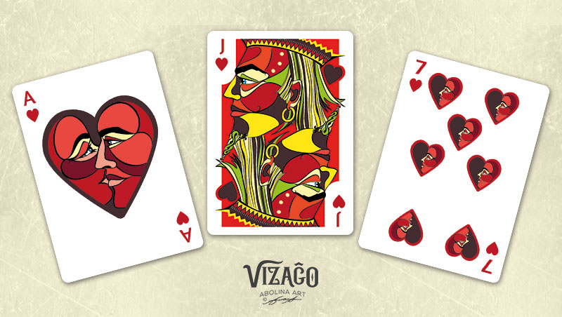 Vizaĝo Hearts - Ace, Jack and number 7