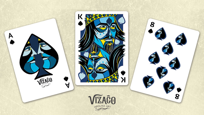 Vizaĝo Spades - Ace, King and number 8