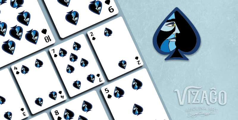 Numbered Spades showing enlarged pip for a closer look