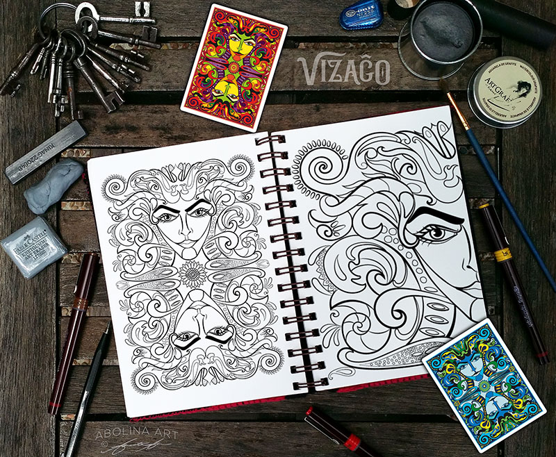 Drawing for VIZAĜO card back design