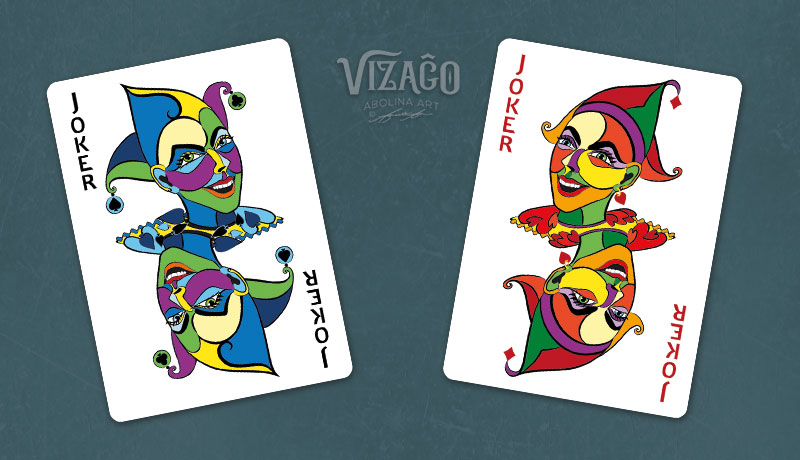 Version 2 of the red and blue VIZAĜO Jokers