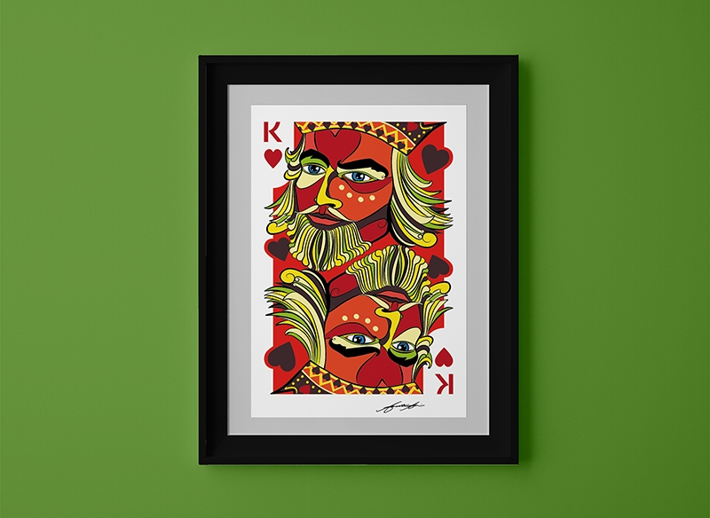 King of Hearts - framing suggestion for art print