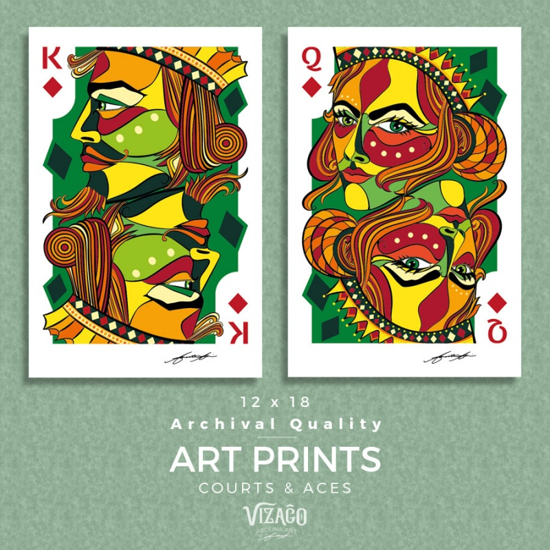 VIZAĜO Art Prints - courts and aces