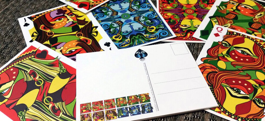 Colourful and large postcard prints with artwork from VIZAĜO playing cards