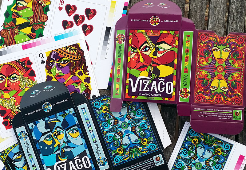 tuck boxes and cards physical proofs for printing VIZAĜO