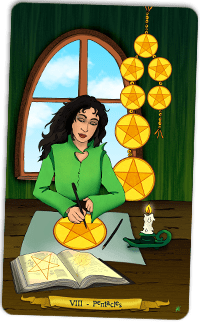 8 of Pentacles - Tarot illustration by Annette Abolins