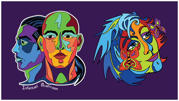 Infected Mushroom psy trance duo and Butterfly girl - colourful face illustrations by Abolina Art