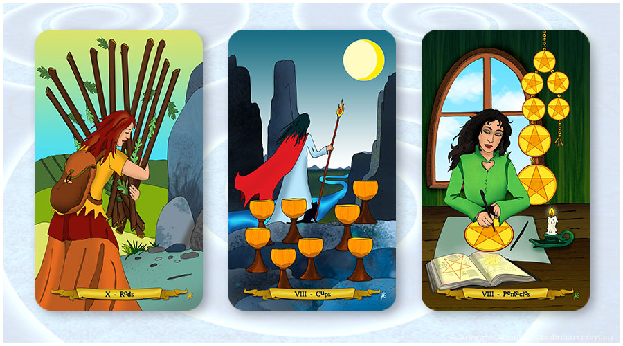 illustrated tarot by Annette Abolins: Ten of Rods Eight of Cups and Eight of Pentacles