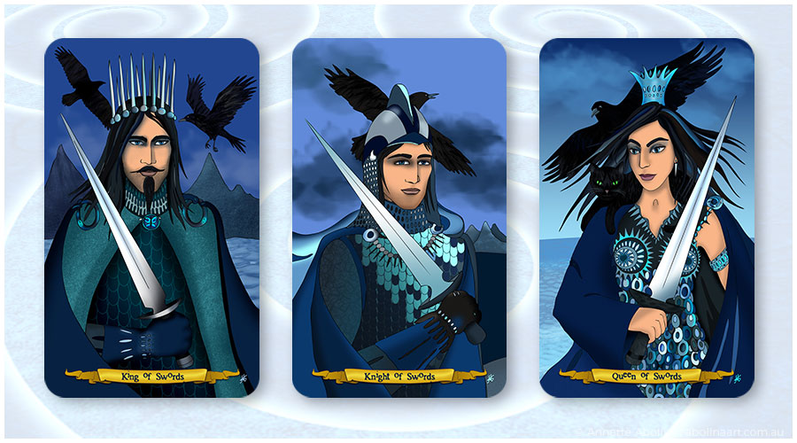 Royal Swords tarot cards illustrated by Annette Abolins
