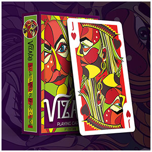 Lumina - red colour version of custom playing cards with bright faces by Annette Abolins