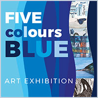 exhibition invite in blue hues