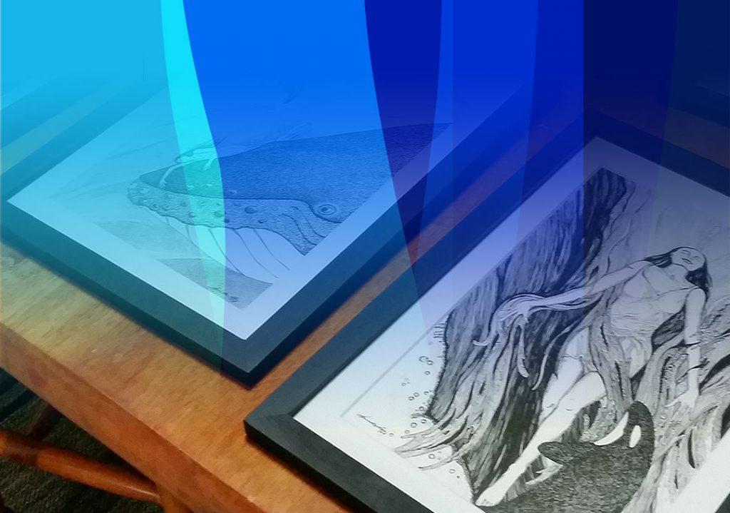 sneak peak 2 framed drawings