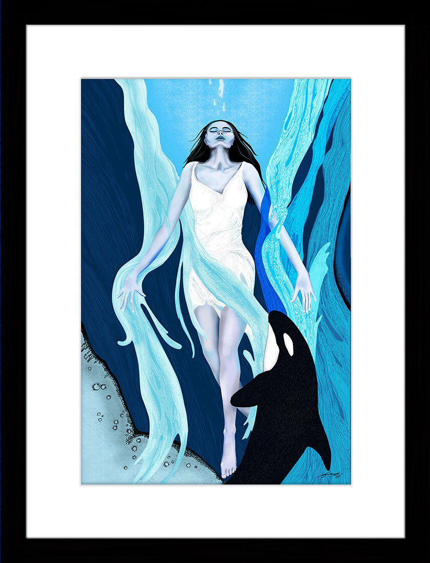 painting of a woman in the ocean surrounded by blue waves and whales