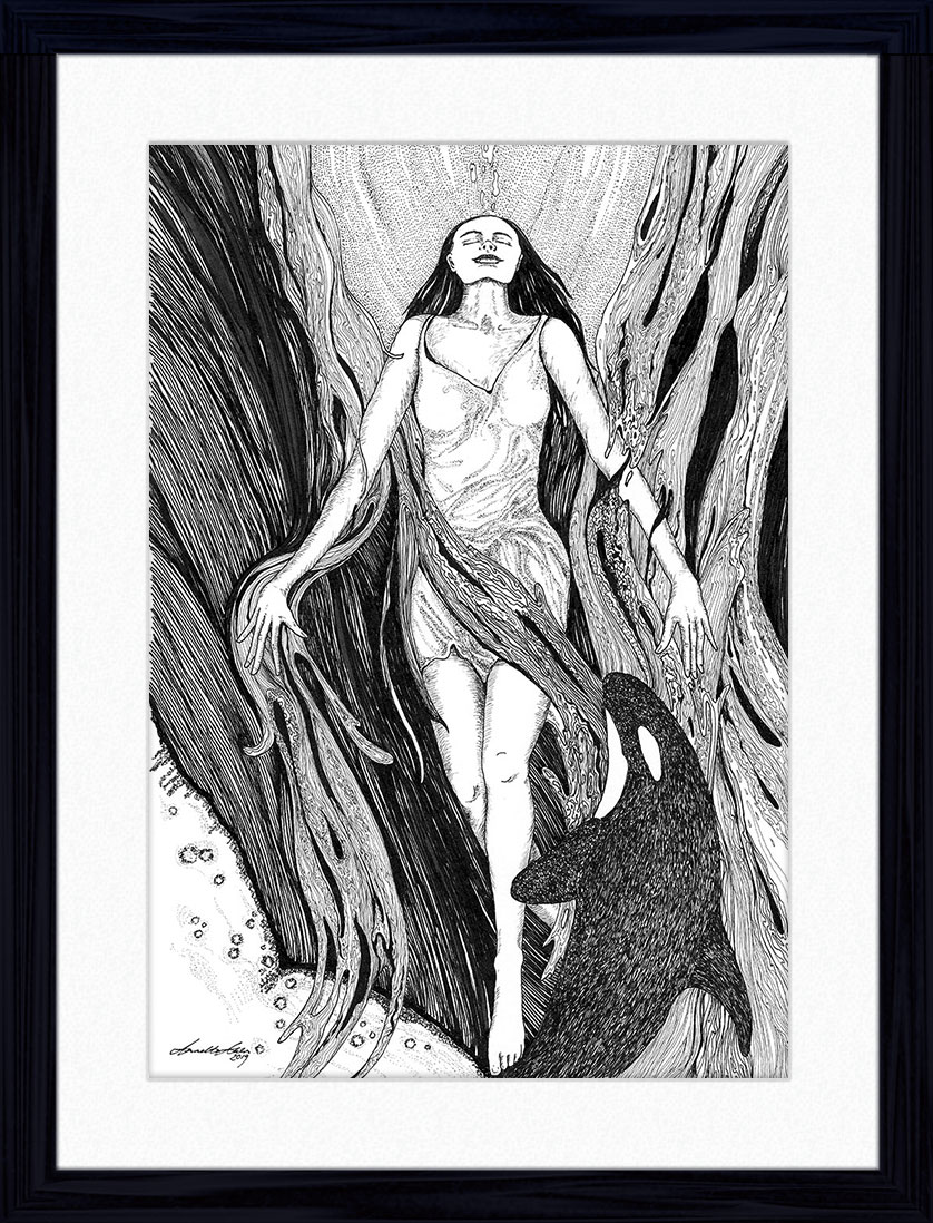 Detailed pen & ink drawing of woman rising up through water with an orca