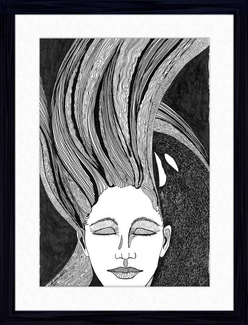 Pen and Ink Drawing of an orca guiding a woman with flowing hair and closed eyes