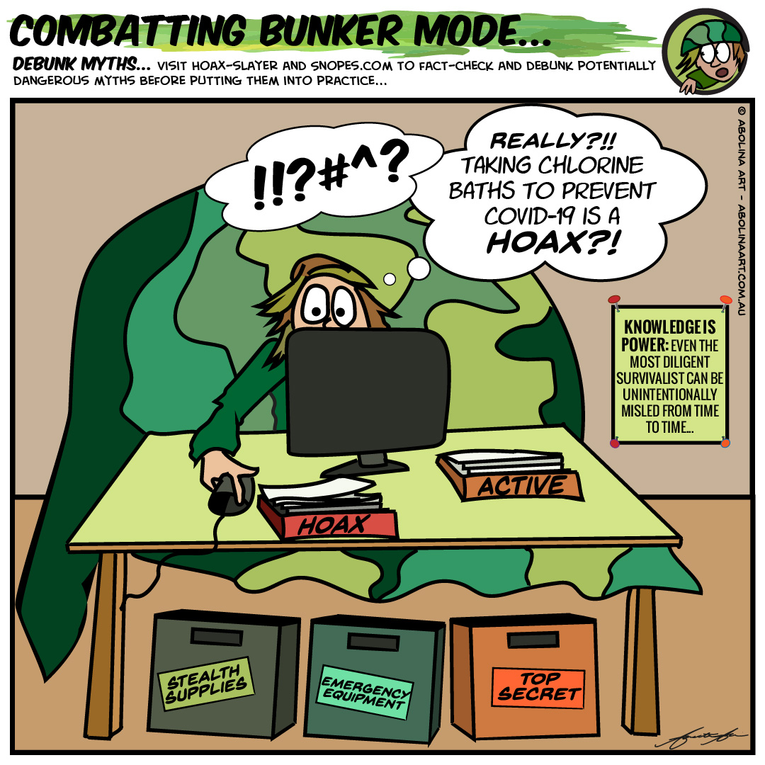 cartoon character in bunker mode looking up hoaxes on laptop