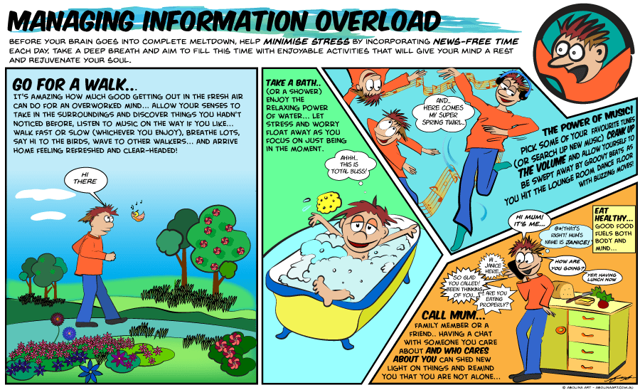 Cartoon strip showing tips for managing news addiction during COVID-19