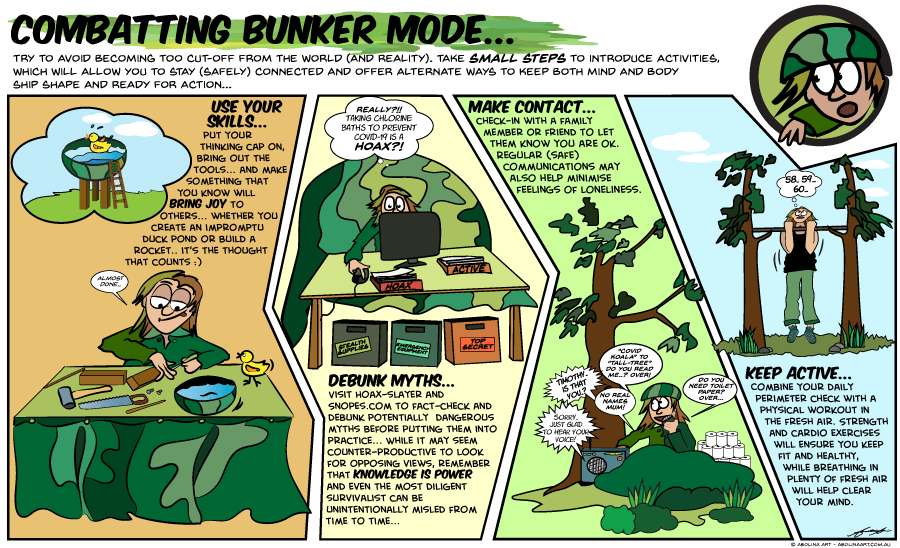 cartoon strip with tips for those at risk of going off the grid