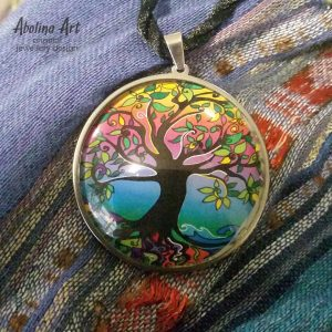 Tree of Life in psychedelic colours 40mm cabochon art pendant