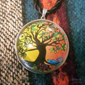Tree of Life in Summer colours 40mm glass cabochon art pendant