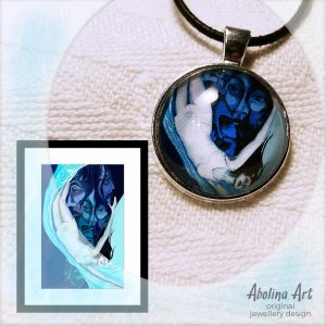 Spiral artwork and cabochon pendant by Abolina Art