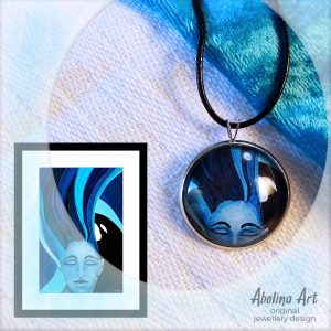 Tranquillity artwork and cabochon pendant
