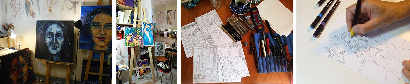 Collage of photos from painting and drawing studio