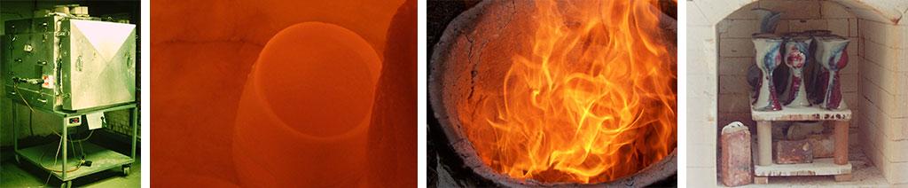 collage photos of firing clay