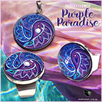 Paisley Flower pendant and rings in purple hues